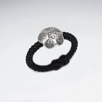 Black Waxed Cotton Ring with Silver Charm