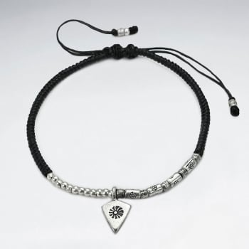 Black Waxed Cotton Rope Twist Silver Arrowhead Charm Bracelet