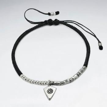 Black Waxed Cotton Rope Twist Silver Arrowhead Charm Bracelet