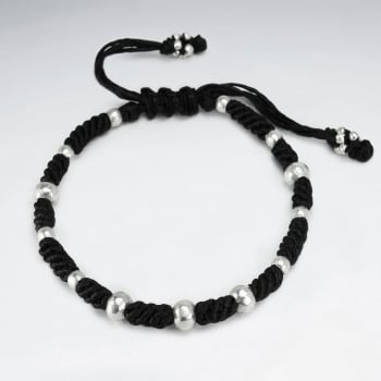 Black Waxed Cotton Rope Twist Sterling Beaded Bracelet