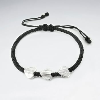 Black Waxed Cotton Rope Twist Sterling Hearts Bracelet