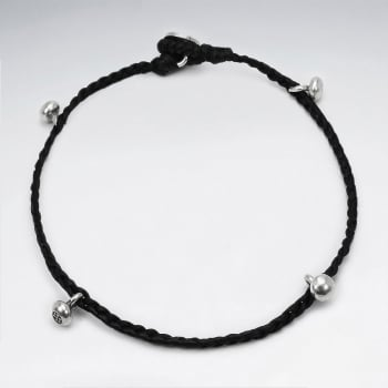 Black Waxed Cotton Silver Bead Ball Anklet