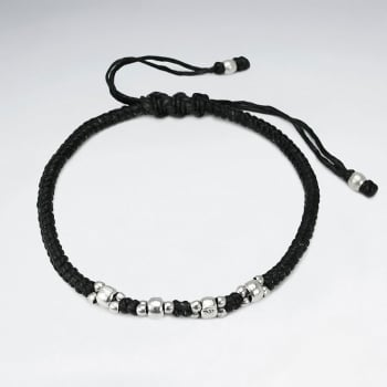 Black Waxed Cotton Silver Bead Cluster Bracelet