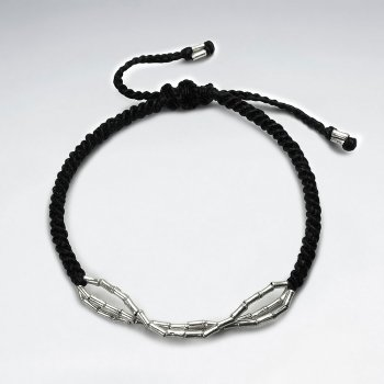 Black Waxed Cotton Silver Bead Patterned  Rope Bracelet