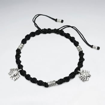 Black Waxed Cotton Silver Charm Bracelet