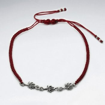 Black Waxed Cotton Silver Charm Link Anklet