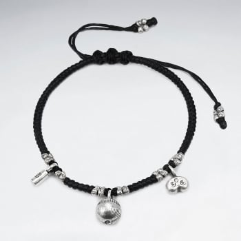 Black Waxed Cotton Silver Charms Bracelet