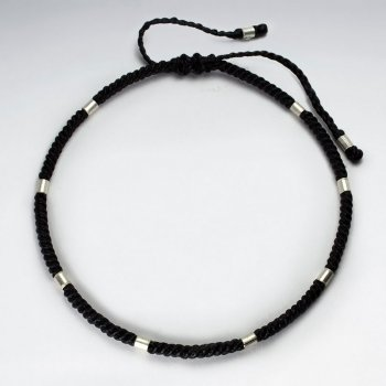 Black Waxed Cotton Silver Cuff Bead Anklet