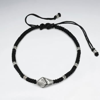 Black Waxed Cotton Silver Flower Adorned Bead Bracelet