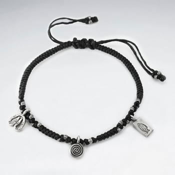 Black Waxed Cotton Silver Organic Spiral Fish Charm Stone Bead Bracelet