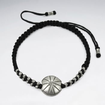 Black Waxed Cotton Silver Shell Circle Charm Bracelet