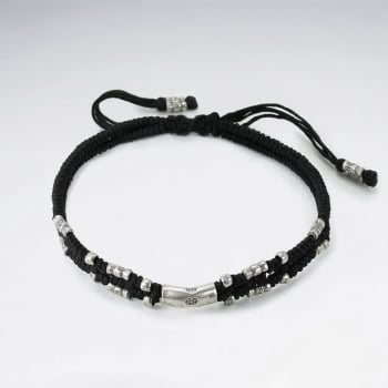 Black Waxed Cotton Silver Studded Bead Bracelet