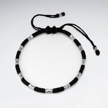 Black Waxed Cotton Silver Studded Bracelet