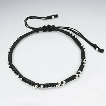 Black Waxed Cotton Silver Studded Tie Bracelet