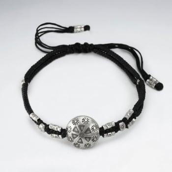 Black Waxed Cotton Silver Tribal Disc Bead Bracelet
