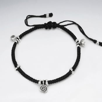 Black Waxed Cotton Spiral Charm Bracelet