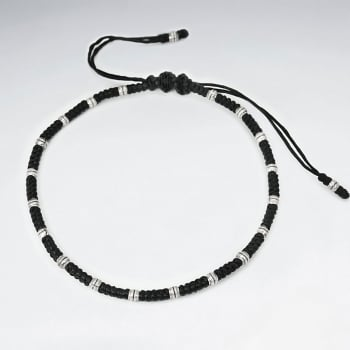 Black Waxed Cotton & Sterling Silver Bead Bracelet