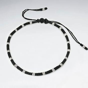 Black Waxed Cotton & Sterling Silver Bead Bracelet