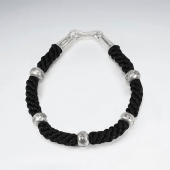 Black Waxed Cotton Thick Rope Twist Beaded Bracelet