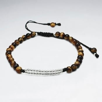 Black Waxed Cotton Tiger Eye Beaded Accent Bracelet