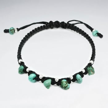 Black Waxed Cotton Turquoise & Silver Stone Bead Bracelet