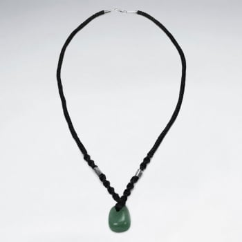 Black Waxed Cotton Twist Cord Aventurine Pendant Necklace