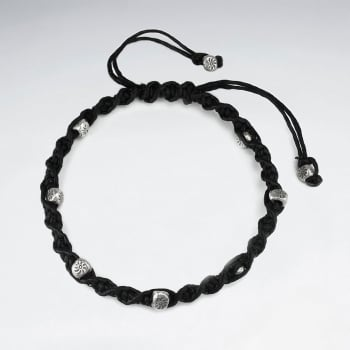 Black Waxed Cotton Twist Rope Bead Studded Bracelet