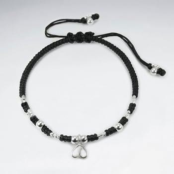 Black Waxed Cotton Twist Silver Heart Charm Bracelet