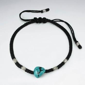 Black Waxed Cotton Twist Turquoise Beaded Bracelet