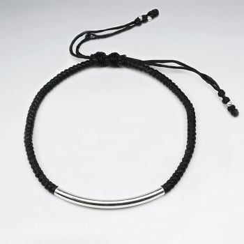 Black Waxed Cotton Wide Silver Bead Bracelet