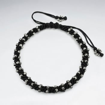Black Waxed Cotton Wrapped Corded Bead Ball Bracelet
