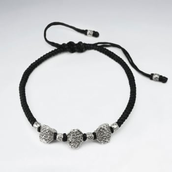 Black Waxed Cotton Wrapped Triple Bead Charm Bracelet