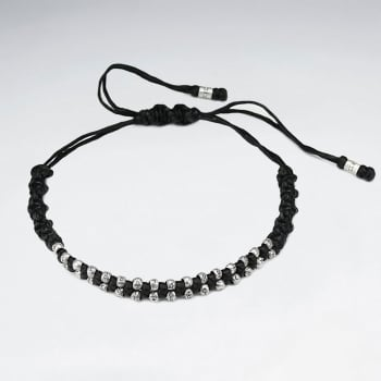 Black Waxed Cotton Zipped Style Bracelet