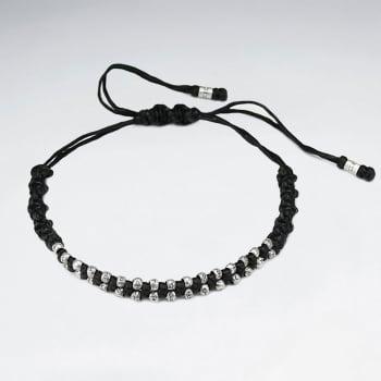 Black Waxed Cotton Zipped Style Bracelet