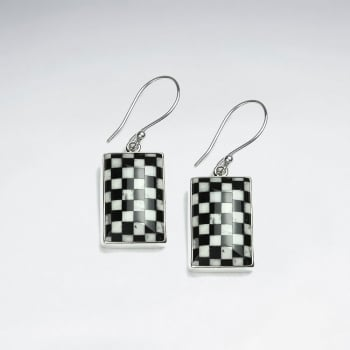 Black & White Checkered Rectangle Dangle Hook Earrings