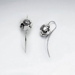 Blooming Flower Oxidized Silver Hook Earrings