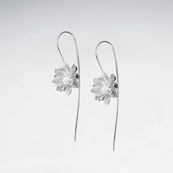 Blooming Gardens Silver Flower Threader Earrings