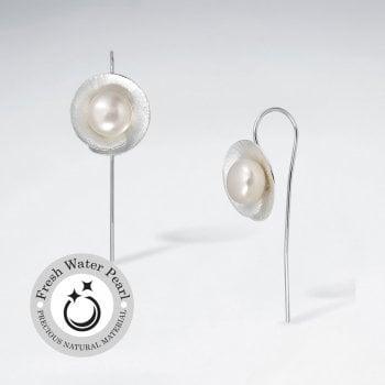 Blooming Lily Pearl Earrings in Sterling Silver