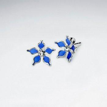 Blue Five Petal Enamel Flower Stud Silver Earring With White CZ