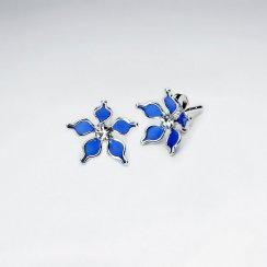 Blue Five Petal Enamel Flower Stud Silver Earring With White CZ