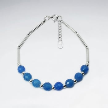 Blue Glass Bead Faceted Bead Bracelet