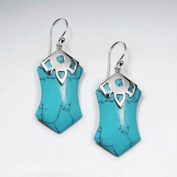 Blue Howlite Silver Earring