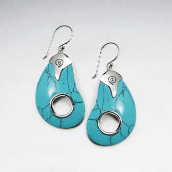 Blue Howlite Silver Earring With Open Circle at Center