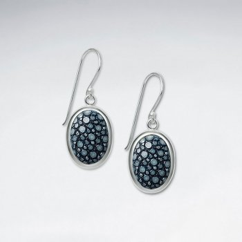 Blue Oval Stingray Dangling Silver Earring