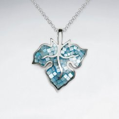 Blue Shell Autumn Leaf Silver Pendant