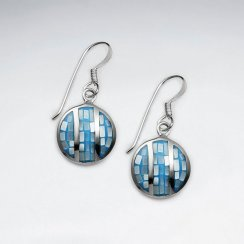 Blue Shell Round Dangling Silver Earring