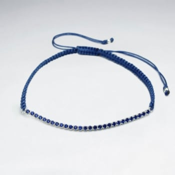 Blue Waxed Cotton Half Blue CZ Lined Bracelet