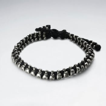 Bold Black Wax Cotton Silver Bead Surround Bracelet