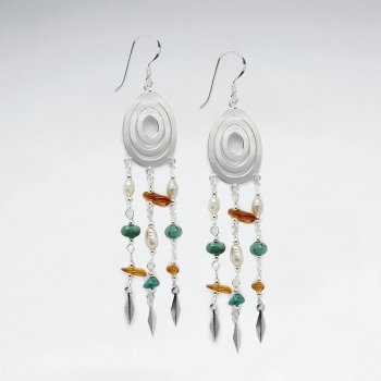 Bold Dangle Earrings with Sterling Silver and Multi-Color Mix Stone Accents
