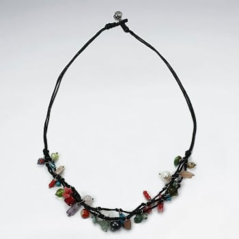 Bold Designs Black Waxed Cotton Mixed Stone Necklace